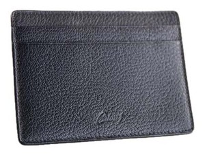 Brioni * Brioni 100% Goat Leather Black Pebbled Open Billy Card Holder Wallet