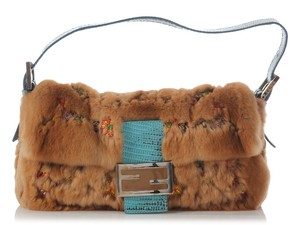 Fendi Fi.j0805.07 Beaded Fur Brown Baguette