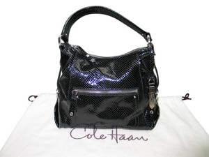 Cole Haan Patent Lizard Grain Shoulder Bag