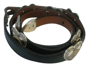 Unknown Western Design Woman Belt Size 34 Black Leather W/Silver and Gold Hearts Detail