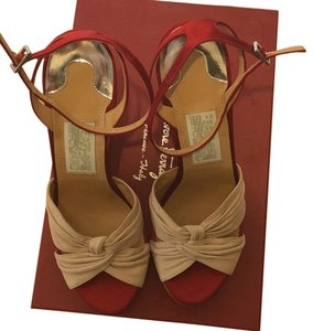 Salvatore Ferragamo Red, beige Wedges