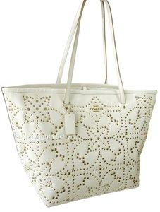 Coach Leather Large Studded Tote in Chalk / Off White