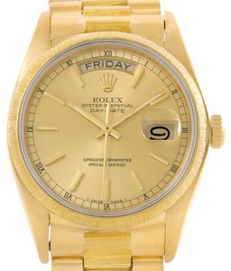 Rolex Rolex President Day-Date Mens 18k Yellow Gold Bark Finish Watch 18078