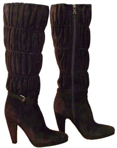 Prada Suede Leather Ruched Boot Brown Boots