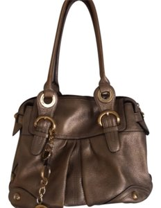 B. Makowsky Leather Satchel in gold/silver