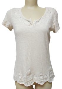 Lucky Brand Embroidered T Shirt Beige
