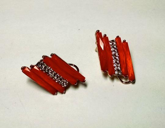 Other New Orange Silver Stud Earrings Large J1498 Image 1