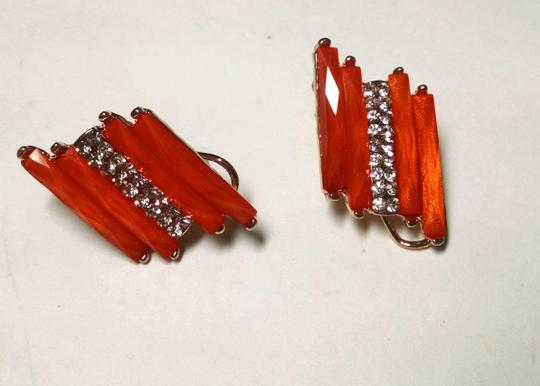 Other New Orange Silver Stud Earrings Large J1498 Image 2