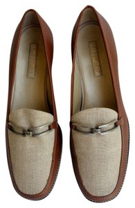 Unisa Leather Canvas Buckle Loafers Tan Flats