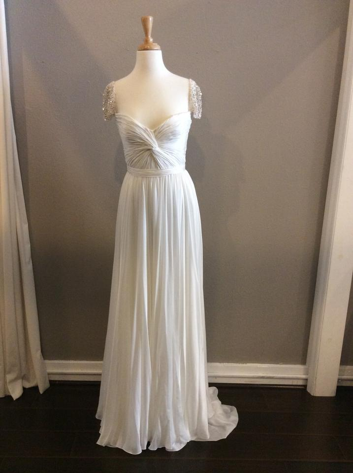 f376f2a4838 Reem Acra Ivory Silk Olivia Wilde Feminine Wedding Dress Size 6 (S) Image 0  ...