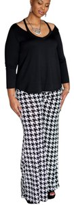 Palazzo Vintage Houndtooth Super Flare Pants Black and White