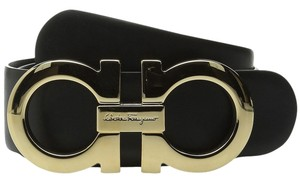 Salvatore Ferragamo Salvatore Ferragamo Double Gancini Adjustable Belt 679068 Nero Big Buckle Size 34