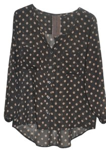 Moon Collection Polka Dot Button Top Gray Pink