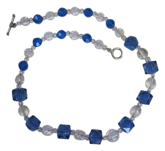 Preload https://img-static.tradesy.com/item/858116/blue-clear-silvertone-new-block-ball-necklace-0-0-540-540.jpg