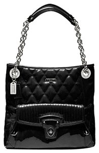 Coach Poppy Leather Glossy Tote in Black