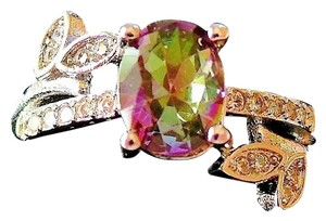 Holiday Special Mystic Rainbow Topaz, White CZ Woman's 925 Stering Silver 14k Ring US SZ 8