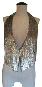A|X Armani Exchange Sequin Vest Halter Party Top grey