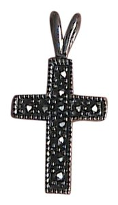 Other Vintage Sterling Silver Marcasite Crucifix Pendant