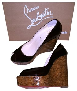 Christian Louboutin Peep Toe Open Toe 9.5 39.5 40.5 Burgundy Wedges