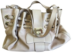 Jimmy Choo Riki Ultrasuede Tote in Beige