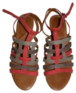Naya Leather Straps Light Weight taupe/neutral and melon orange Sandals