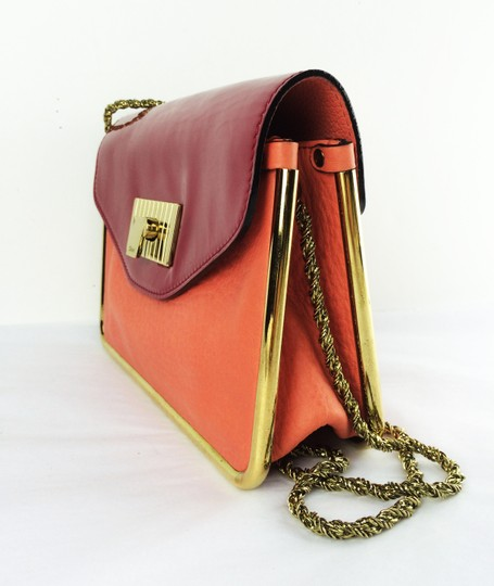 Chloé Sally Leather Coral /Lipstick (Red) Clutch Image 2