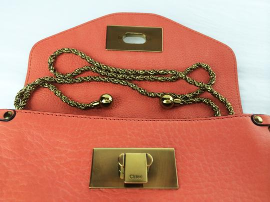 Chloé Sally Leather Coral /Lipstick (Red) Clutch Image 5