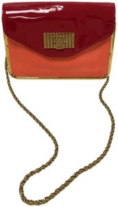 Chloé Sally Leather Coral /Lipstick (Red) Clutch