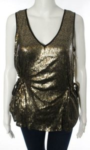 2b.RYCH Sequin Embellished Party Vintage Sleeveless Sequins Drawstring Gathered Tie Waist Metallic Top Brown / Gold