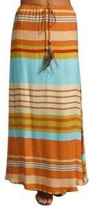 Testament Suede Feather Summer Causal Beachy Maxi Skirt Multi-color