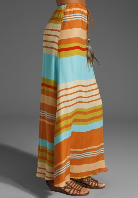 Testament Suede Feather Summer Causal Beachy Maxi Skirt Multi-color Image 1