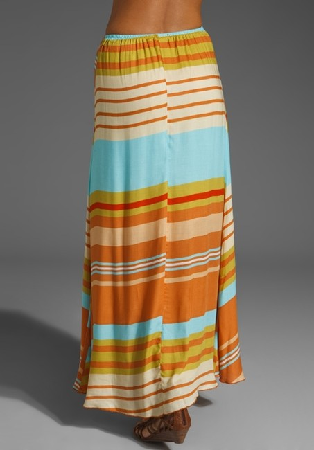 Testament Suede Feather Summer Causal Beachy Maxi Skirt Multi-color Image 2