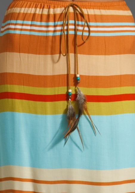 Testament Suede Feather Summer Causal Beachy Maxi Skirt Multi-color Image 3