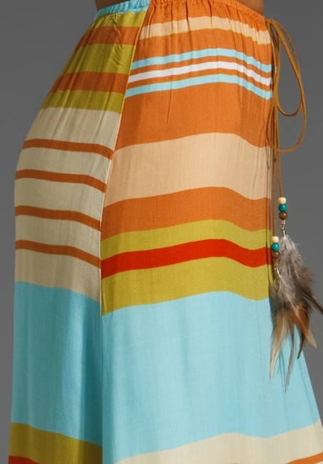 Testament Suede Feather Summer Causal Beachy Maxi Skirt Multi-color Image 4