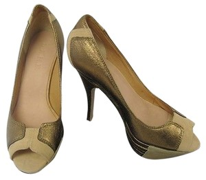 L.A.M.B. Beige Leather Peep Toe Gold Platforms