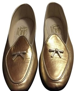 Belgian Shoes Gold with Silver Bow Flats