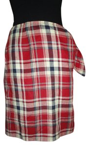Ralph Lauren Plaid Mini Wrap Skirt RED PLAID
