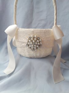 Ivory Lace Flower Girl Basket