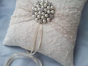 Ivory Lace Ring Bear Pillow Pearl Rhinestone Accents