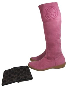 Gucci Leather Logo Gg Tall Boots