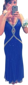 Cecily Brown Beaded Blue Prom Dress