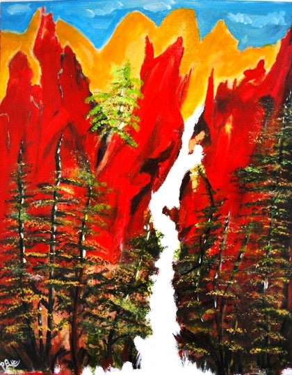 "PAULA HC ""FIERY MOUNTAIN"" Original Acrylic on Canvas Painting 24x30 in. by PAULA HC"