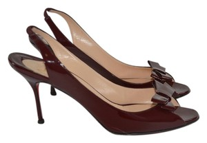 Christian Louboutin Sling Back Heels Peep Toe Red maroon/red Pumps