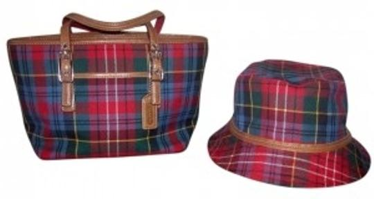 Coach Satchel in Red, blue and green plaid