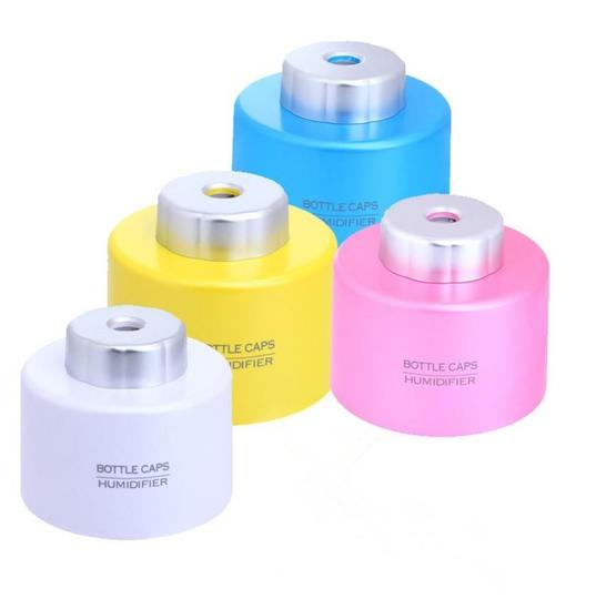 Assorted (Pink Blue White Yellow) 12 Pieces - Mini Portable Home Office Car Air Humidifier Usb Plug Bottle Cap Favor Guest Birthday Event Household Electronics