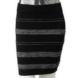 Rock & Republic Mini Metallic Knit Mini Skirt Black / Silver