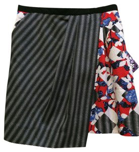 Peter Pilotto for Target Asymetrical Floral Checkered Pencil Skirt Multi Colored