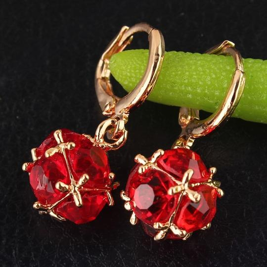 Other New Fashion Women/Girl's 18k Yellow Gold Filled Red Zircon Dangle Earring Jewelry