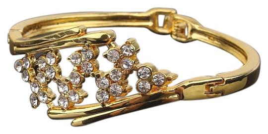 other New 18k Yellow Gold Filled Blossom Austrian Crystal Bracelet Bangle Image 0