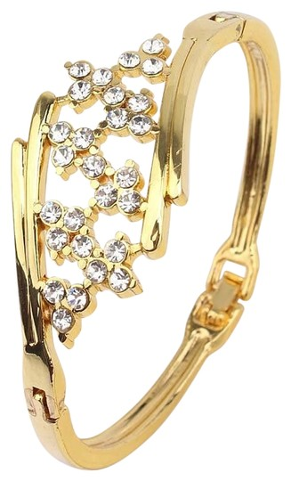 other New 18k Yellow Gold Filled Blossom Austrian Crystal Bracelet Bangle Image 1